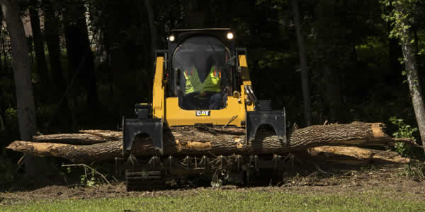 forestry track loader machine with grapple attachment for logging